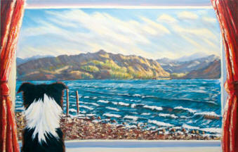 Caroline McCormack's painting of the view from the window at Seabank Cottage, Lochcarron, looking across Loch Carron towards Attadale.