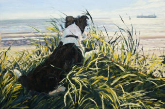 One of Caroline McCormack's paintings of her border collie, Poppy, after whom her business Poppy Cottage Art is named.